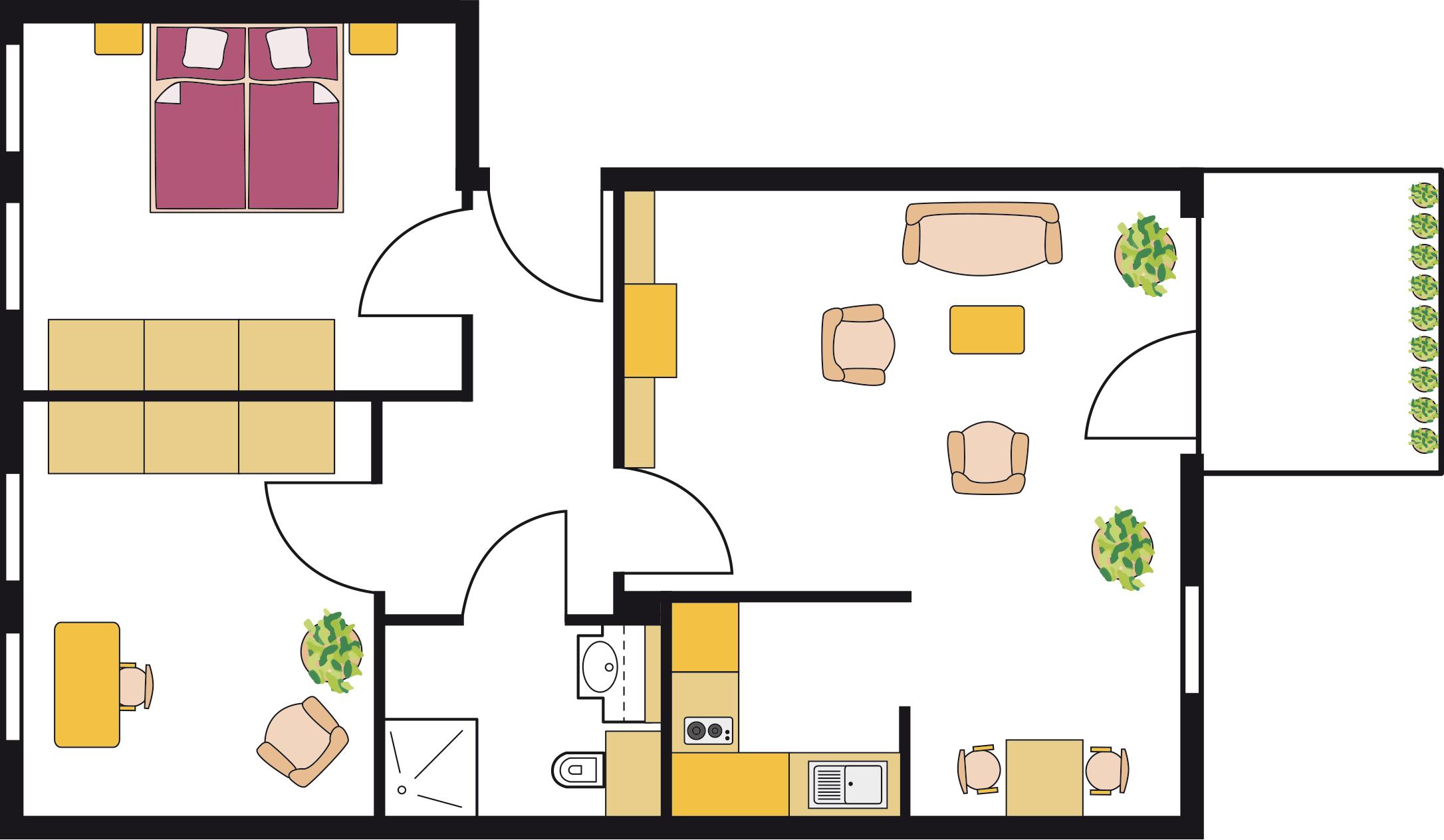Beispiel einer Residenzwohnung (3ZKB) mit ca. 70 qm