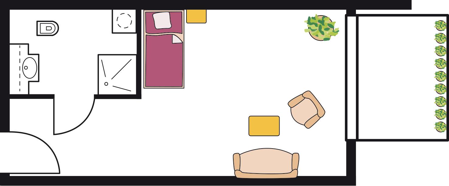 Beispiel eines Pflegeappartements (1ZB) mit ca. 25 qm im 4.OG