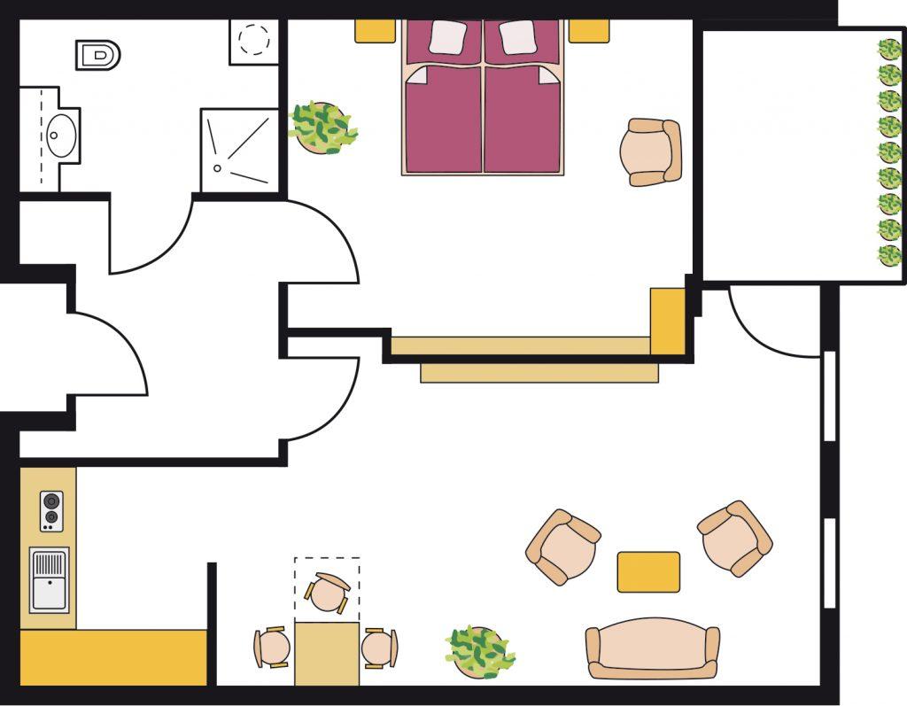 Beispiel einer Pflegewohnung (2ZKB) mit ca. 52 qm